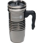 Custom Imprinted Black Chrome Travel Mugs
