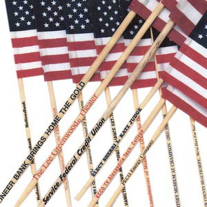 "Custom Imprinted 4"" x 6"" American Flags"