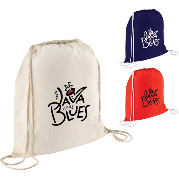 Custom Made 1 Day Service Cotton Twill Drawstring Backpacks!