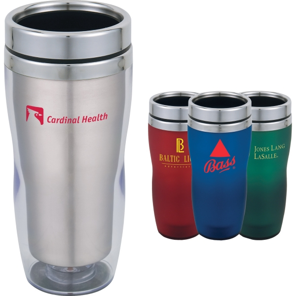 Custom Imprinted 1 Day Service Stainless Steel 16oz. Travel Tumblers