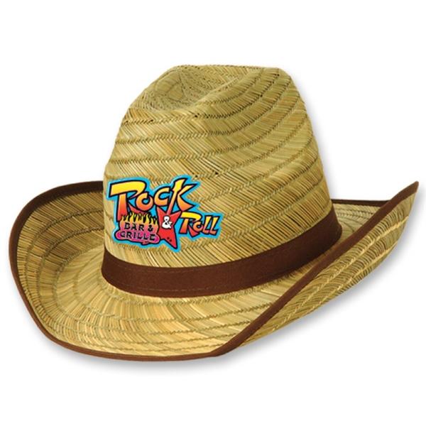 6f6df3a5b Adult Cowboy Hat w/ Brown Trim & Band w/ Custom Printed Icon