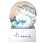 Custom Imprinted Airplane Shaped Stock Snow Globes