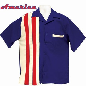 Customized American US Flag Bowling Shirts