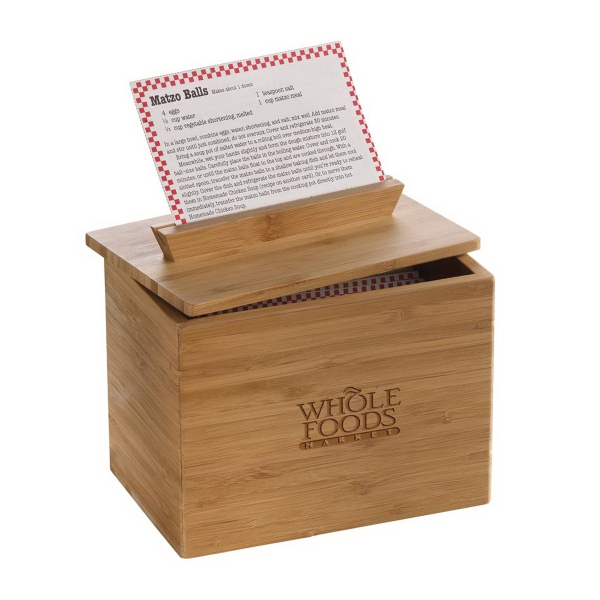 Bamboo Recipe Box With Built In Angled Card Stand On Lid