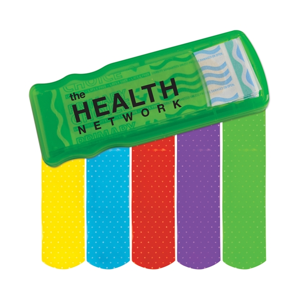 Custom Imprinted Bandage Dispensers with Colored Bandages For Under A Dollar!