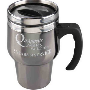 Custom Designed Black Chrome Stainless Steel Spill Resistant Travel Mugs!