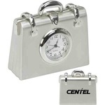 Custom Imprinted Briefcase Shaped Silver Metal Clocks