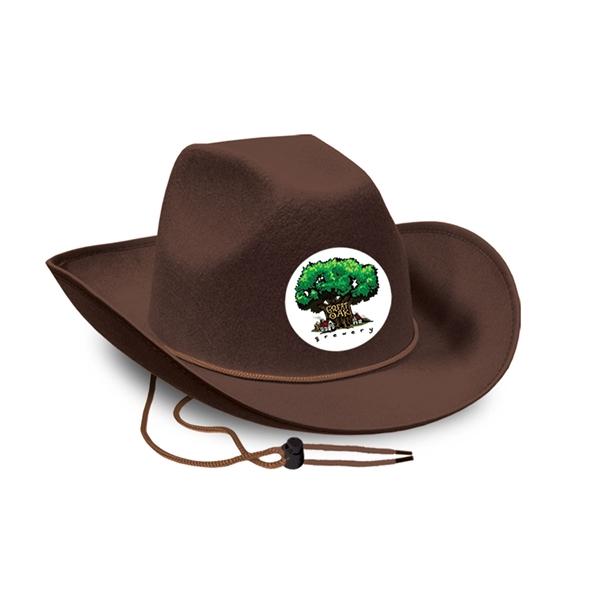 cc915bf79 Brown Felt Cowboy Hat w/ Custom Faux Leather Icon
