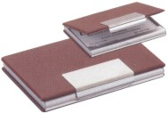 Custom Imprinted Brown Leather Business Card Cases
