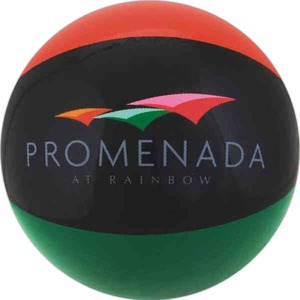 Custom Imprinted Burnt Red Black and Green Alternating Color Beach Balls