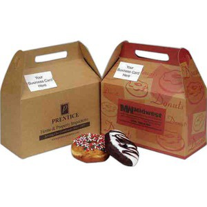 Donut Boxes - Business Card Slot Natural Design Donut Boxes