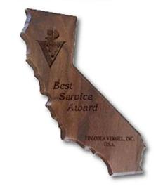 Custom Engraved California State Shaped Plaques