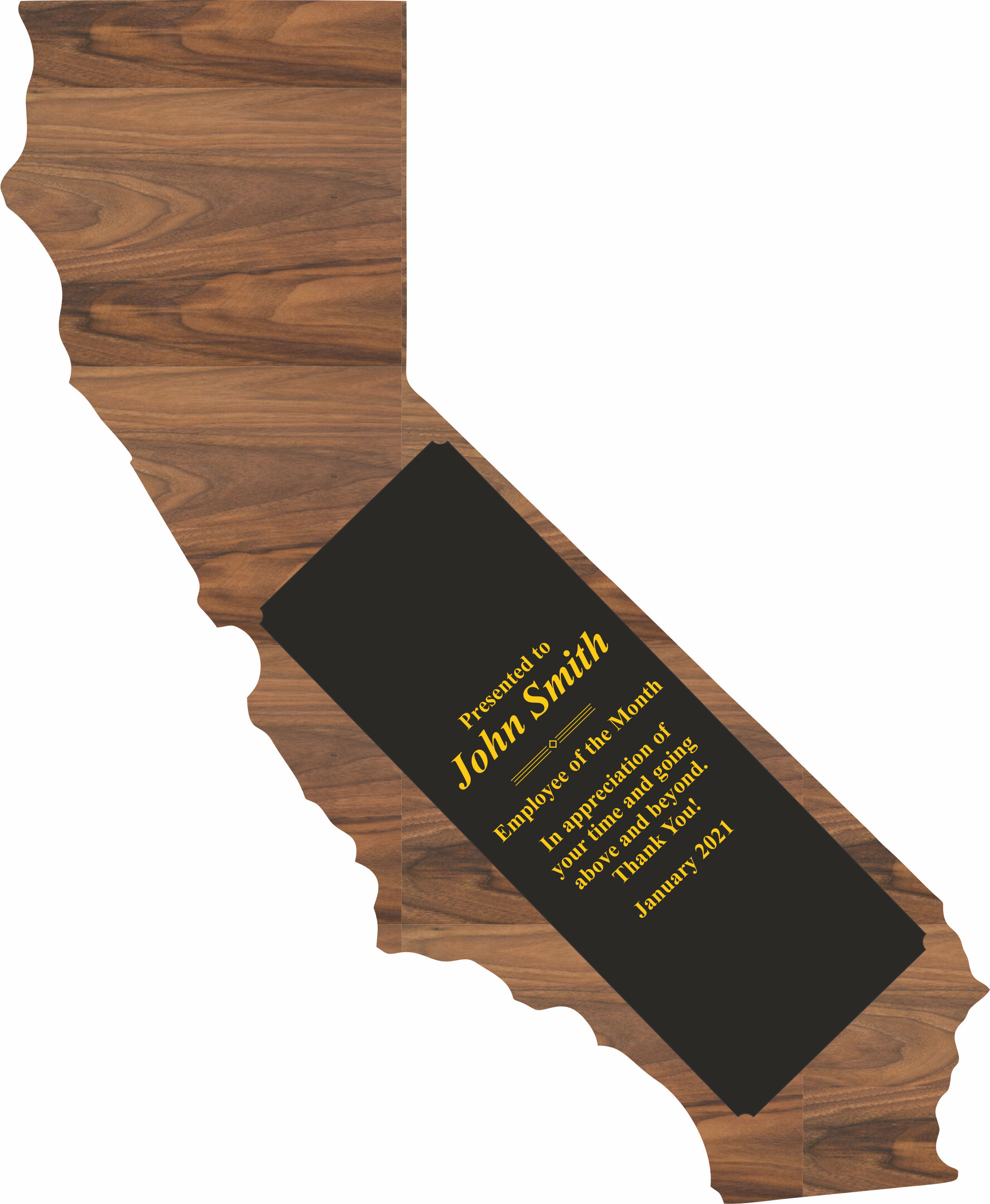 Custom Engraved California State Shaped Plaques!