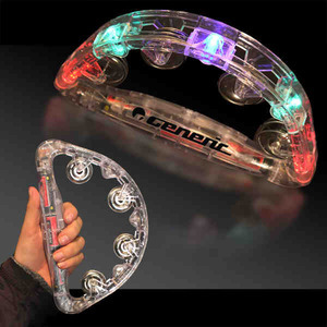Custom Imprinted Clear Light Up Tambourines