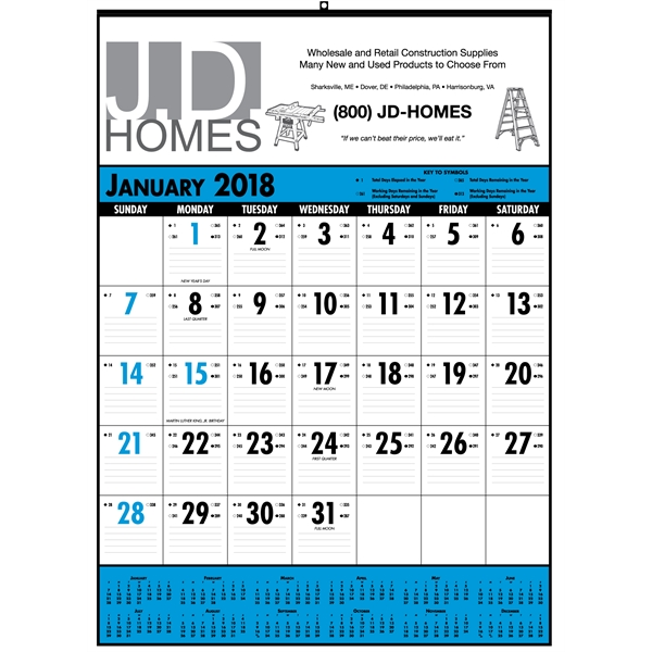 Custom Designed Blue and Black Desk Pad Commercial Calendars!