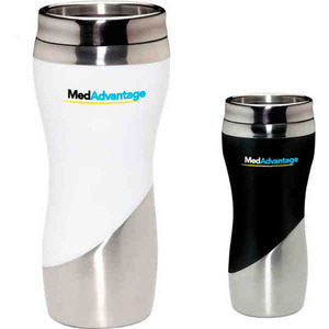 Custom Imprinted Curve Tumbler Travel Mugs with Leak Resistant Lids!