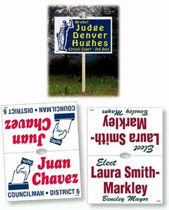 Custom Decorated Double Sided Stake Political Election Campaign Signs!