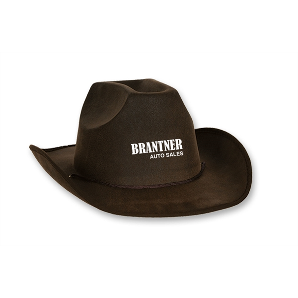 275953f62a907 Faux Suede Cowboy Hats - Custom Printed Promotional Items - WaDaYaNeed