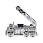 Custom Imprinted Firetruck Shaped Silver Metal Clocks