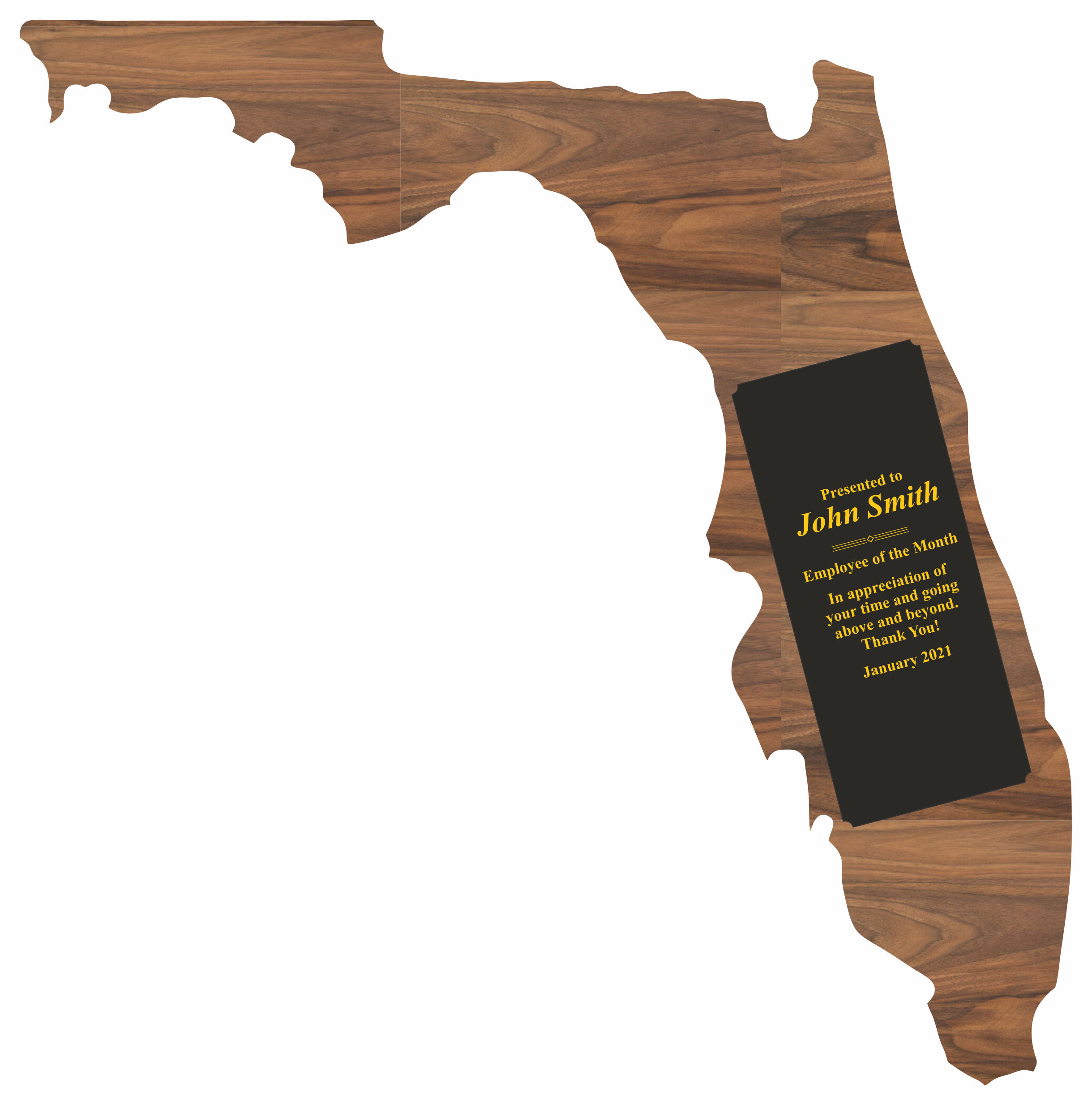 Custom Engraved Florida State Shaped Plaques!
