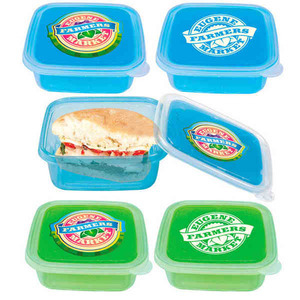Custom Imprinted Freezable Gel Lid Food To Go Containers!