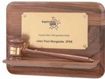 Custom Decorated Gavel Plaques with Pedestal Bases