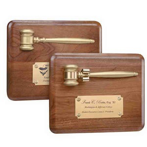 Custom Printed Gavel Plaques with Gold Finish Gavels!