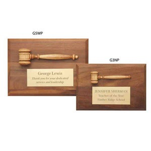 Custom Imprinted Gavel Plaques with Miniature Walnut Gavels