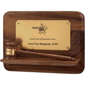 Custom Decorated Gavel Plaques with Pedestal Bases!