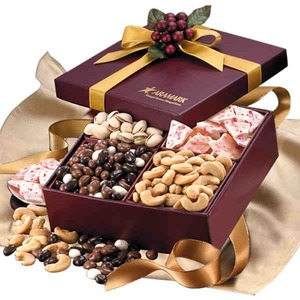 Custom Imprinted Golden Gift Box Food Gift Sets