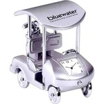 Custom Imprinted Golf Cart Shaped Silver Metal Clocks