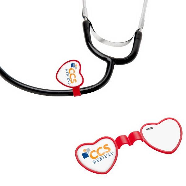 Custom Imprinted Heart Shaped Stethoscope ID Tags!