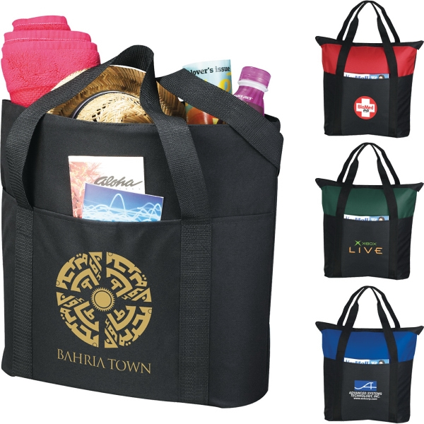 1 Day Service Tote Bags - 1 Day Service Heavy Duty Zippered Tote Bags