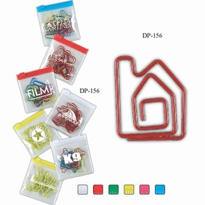 Custom Imprinted House Bent Shaped Paperclips in Zip Pouches