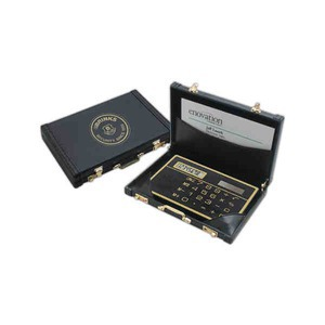 custom imprinted leatherette suitcase calculator and business card holders - Custom Business Card Holder