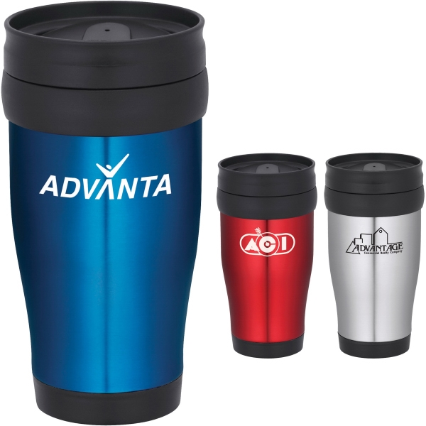 Custom Designed 1 Day Service Blue and Red Travel Mugs!