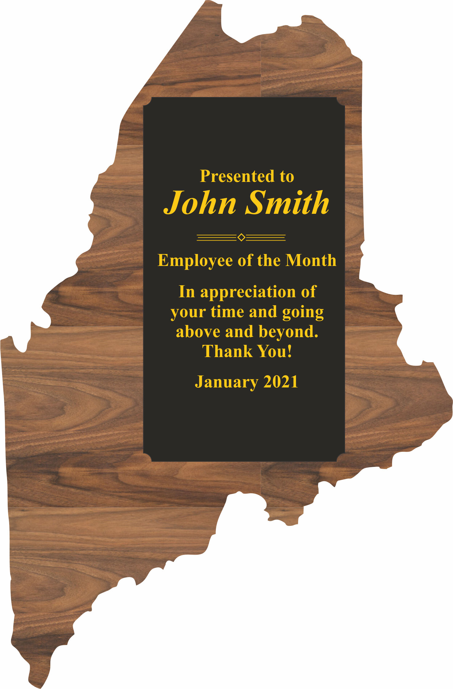 Custom Engraved Maine State Shaped Plaques!