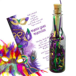 Custom Imprinted Mardi Gras Message in a Bottles