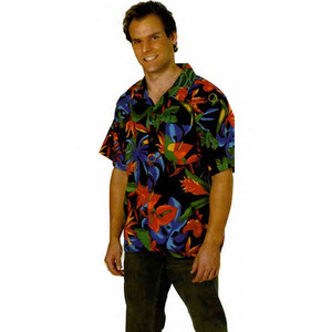 Custom Imprinted Mens Floral Tropicana Hawaiian Camp Shirts