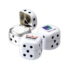 Las Vegas Themed Promotional Items - Candy Mint Filled Dice Shaped Tins