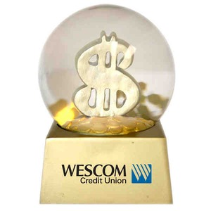 Stock Snow Globes - Money Symbol Stock Shaped Snow Globes