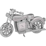 Custom Printed Motorcycle Shaped Silver Metal Clocks!