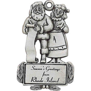 Colored Enamel Christmas Ornaments - Mr. and Mrs. Clause Christmas Ornaments