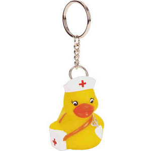 Custom Imprinted Nurse Rubber Duck Keychains