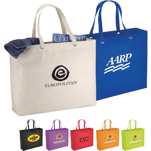 Custom Imprinted 1 Day Service Tote Bags with Double Shoulder Straps