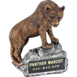 Custom Imprinted Panther Mascot Resin Sculptures