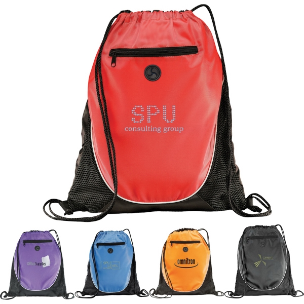 Custom Designed 1 Day Service Drawstring Backpacks with Leatherette Corners