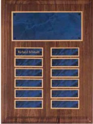 Custom Imprinted Walnut Perpetual Plaques With Sapphire Marble Plates