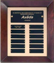 Custom Imprinted Cherry Finish Perpetual Plaque With Gold Back