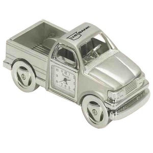 Truck Themed Promotional Items - Pickup Truck Shaped Silver Metal Clocks